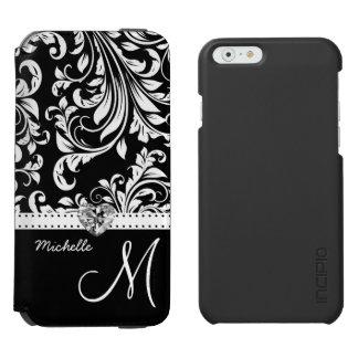 Elegant Black and White Damask with Monogram Incipio Watson™ iPhone 6 Wallet Case