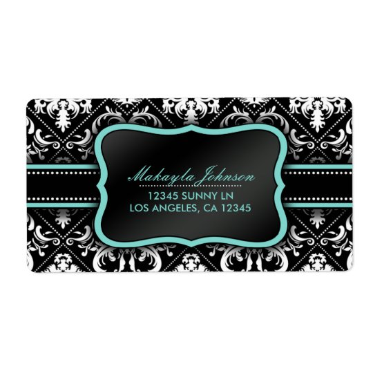 Elegant Black and White Damask with teal blue Shipping Label