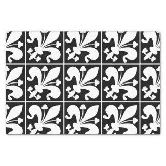 Elegant Black and White Fleur de Lys Tissue Paper