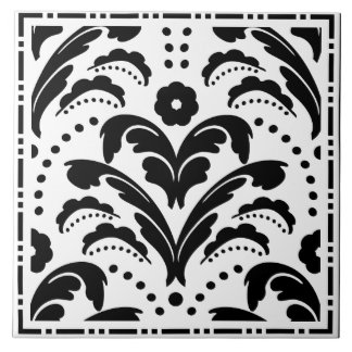 Elegant Black and White Floral Art Deco Damask Tile