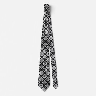 Elegant Black and White Floral Pattern Tie