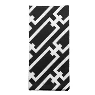 Elegant Black and White Geometric Links Pattern Printed Napkin
