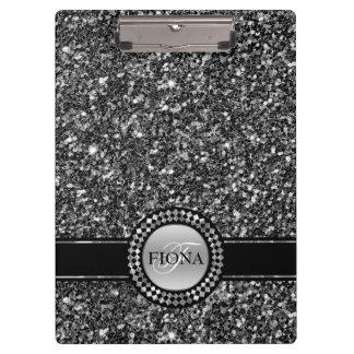 Elegant Black And White Glitter Clipboards