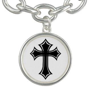 Elegant Black and White Gothic Cross Charm Bracelet