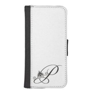Elegant Black and white initial P Monogram iPhone SE/5/5s Wallet Case