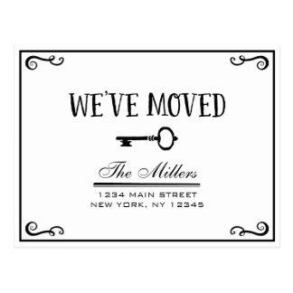 Elegant Black and White Key Moving Announcement Postcard
