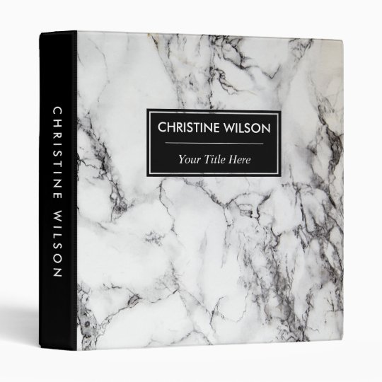 elegant black and white marble stone 3 ring binder
