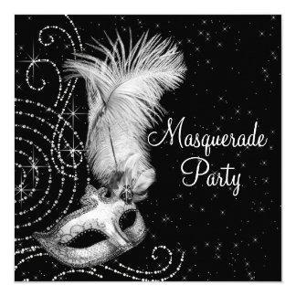 "Elegant Black and White Masquerade Party 5.25"" Square Invitation Card"