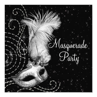 Elegant Black and White Masquerade Party Card
