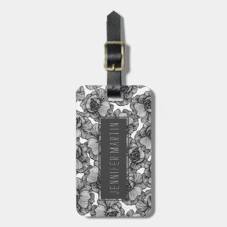 Elegant Black and White Modern Line Art Flowers Luggage Tag