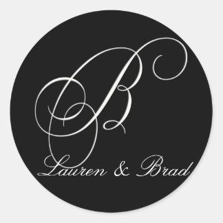 Elegant black and white monogram - initial B Round Sticker