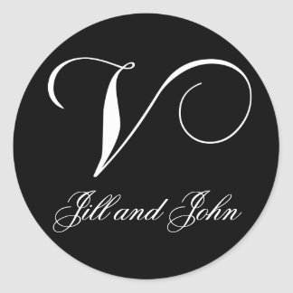 Elegant Black and White Monogram V Names Stickers