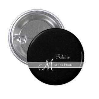 Elegant Black and White Monogram Wedding ID 1 Inch Round Button
