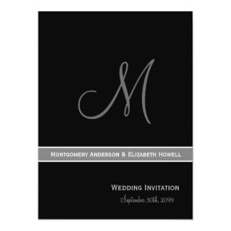 "Elegant Black and White Monogram Wedding 6.5"" X 8.75"" Invitation Card"