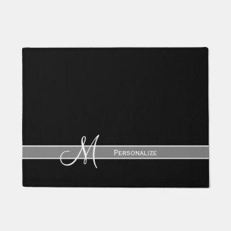 Elegant Black and White Monogram With Name Doormat