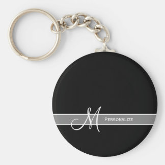 Elegant Black and White Monogram With Name Keychain
