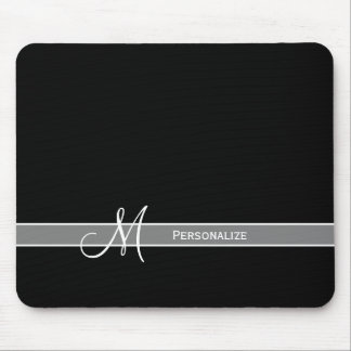 Elegant Black and White Monogram With Name Mouse Pad