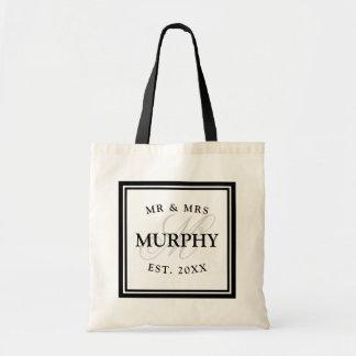 Elegant black and white mr mrs monogram wedding tote bag