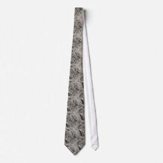 Elegant Black and White Paisley Pattern Tie
