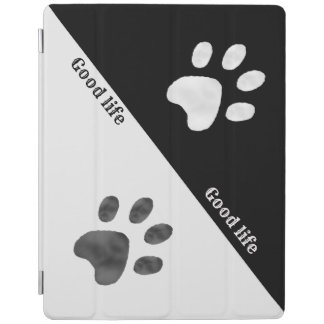 Elegant Black and White Paws iPad Cover