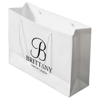 Elegant Black and White Personalized Bridesmaid Large Gift Bag