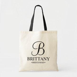 Elegant Black and White Personalized Bridesmaid Tote Bag