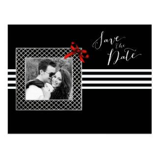 Elegant black and white photo save the date postcard