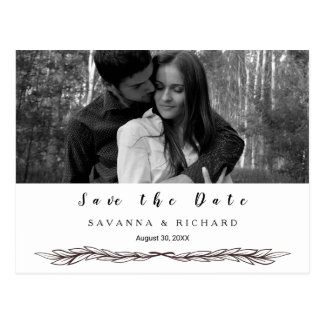 Elegant Black and White Photo Save the Date Postcard