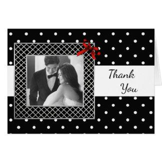 Elegant Black and White Photo Wedding Thank You Card