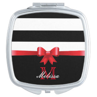 ELEGANT BLACK AND WHITE RED BOW MONOGRAM MAKEUP MIRROR