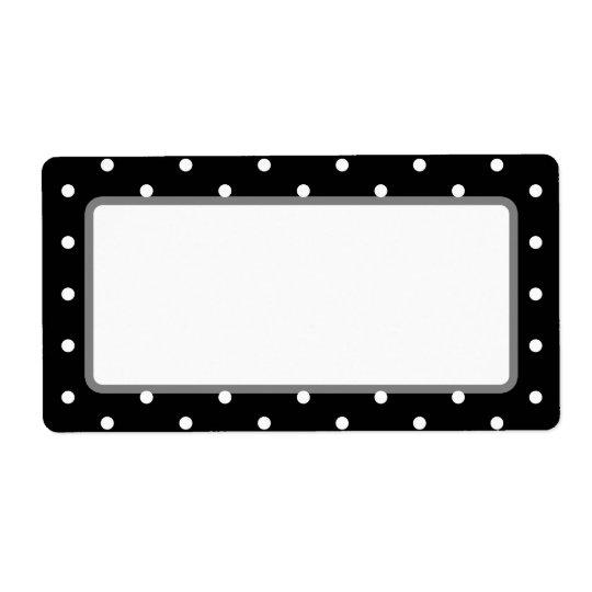 Elegant Black and White Retro Polka Dots Shipping Label