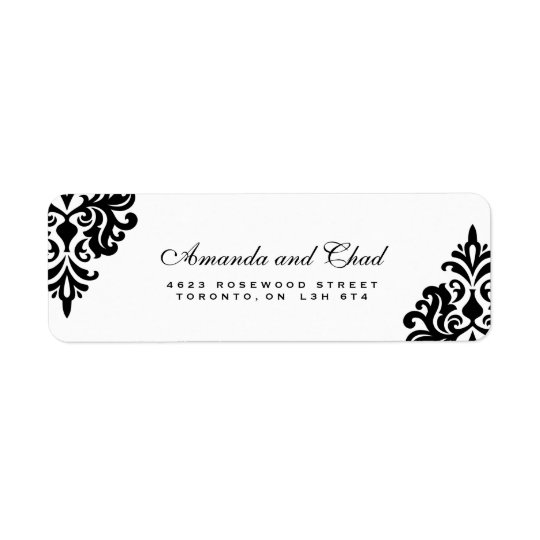 Elegant Black and White Return Address Labels