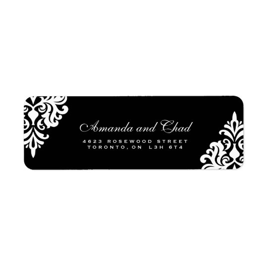 Elegant Black and White Return Address Labels