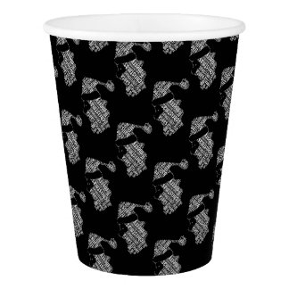 Elegant Black and White Santa Typography Christmas Paper Cup