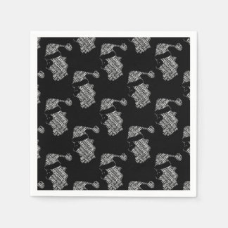 Elegant Black and White Santa Typography Christmas Paper Napkin