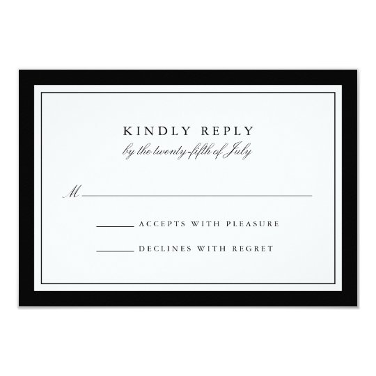 Elegant Black and White Simple Border Wedding RSVP Card
