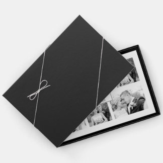 Elegant black and white six photo collage wedding guest book