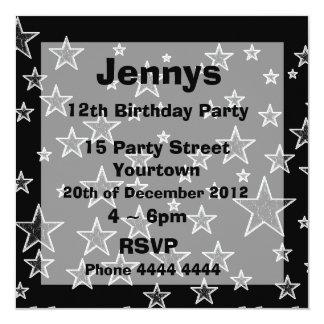 Elegant Black and White Stars Party Invites