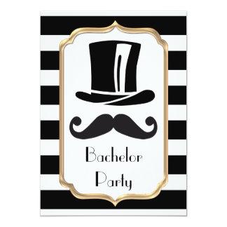 Elegant Black and White Stripe Bachelor Party Card