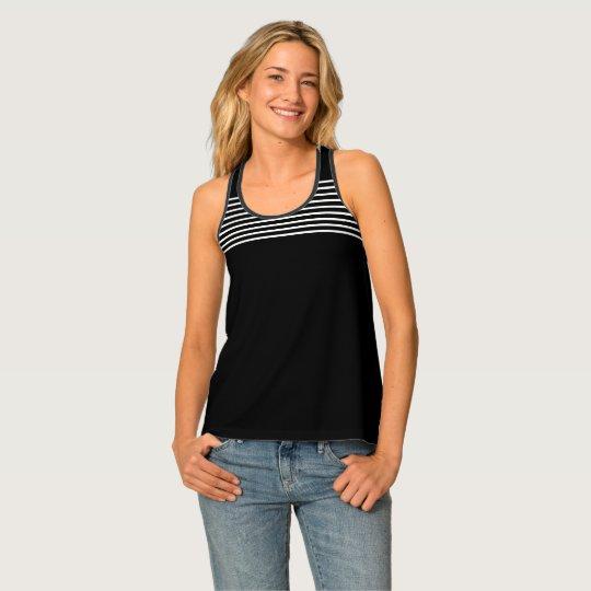 Elegant Black and White Striped Pattern Tank Top
