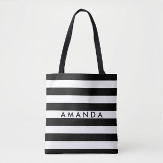 Elegant black and white stripes add your name tote bag