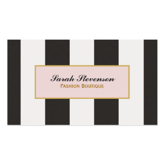 Elegant Black and White Stripes Fashion Boutique Pack Of Standard Business Cards