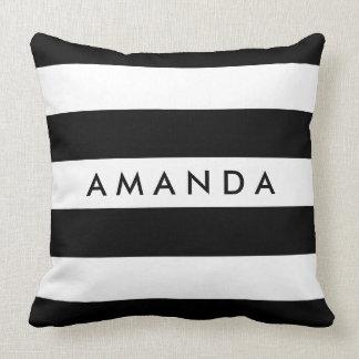 Elegant Black and white stripes - personalize name Throw Pillow