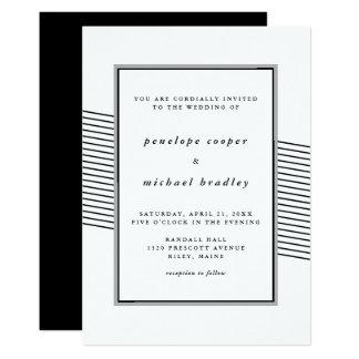 Elegant Black and White Stripes Wedding Card