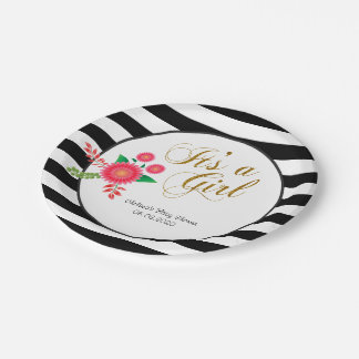 Elegant Black and White Stripes With Pink Floral 7 Inch Paper Plate