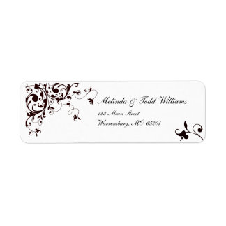 Elegant black and white swirl return address label