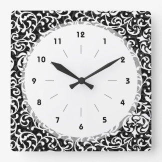 Elegant Black and White Tudor Gardens Floral Square Wall Clock