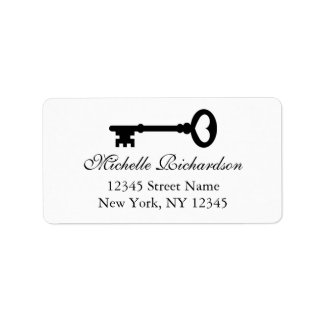 Elegant black and white vintage key address labels