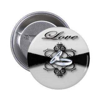Elegant Black and White Wedding Favor 2 Inch Round Button