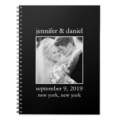 Elegant Black And White Wedding Guest Sign In Book Note Books